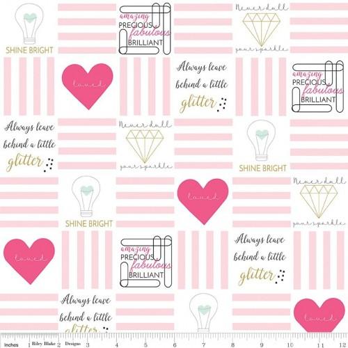 Shine bright - Cuori e scritte bianco/rosa