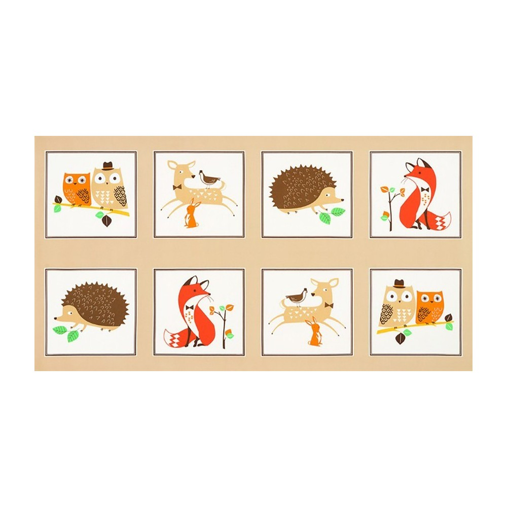 Animali del bosco - Pannello beige
