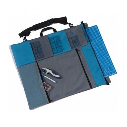 Borsa porta accessori patchwork blu