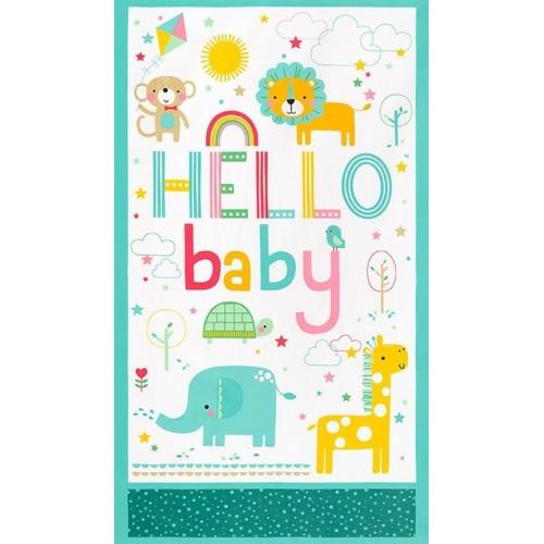 Welcome baby - Cotone flanellato - Pannello rosa