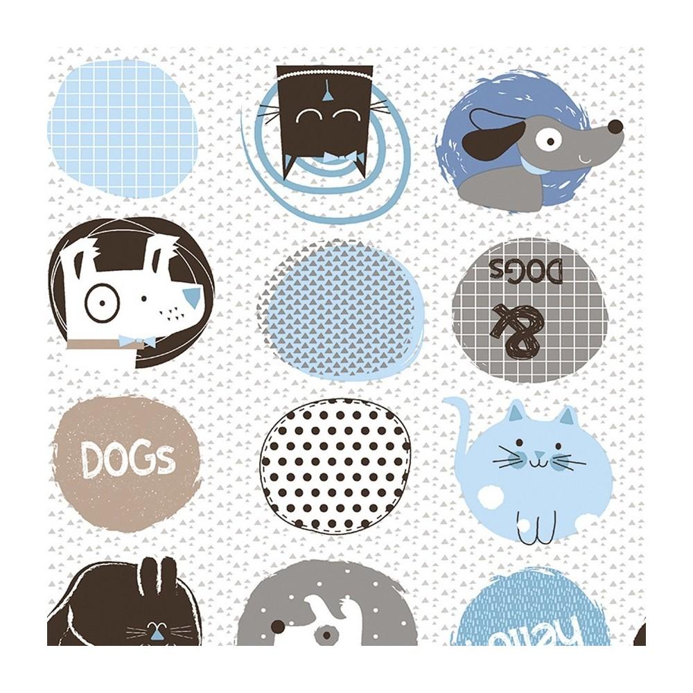 Cotone francese - Cani e gatti in azzurro