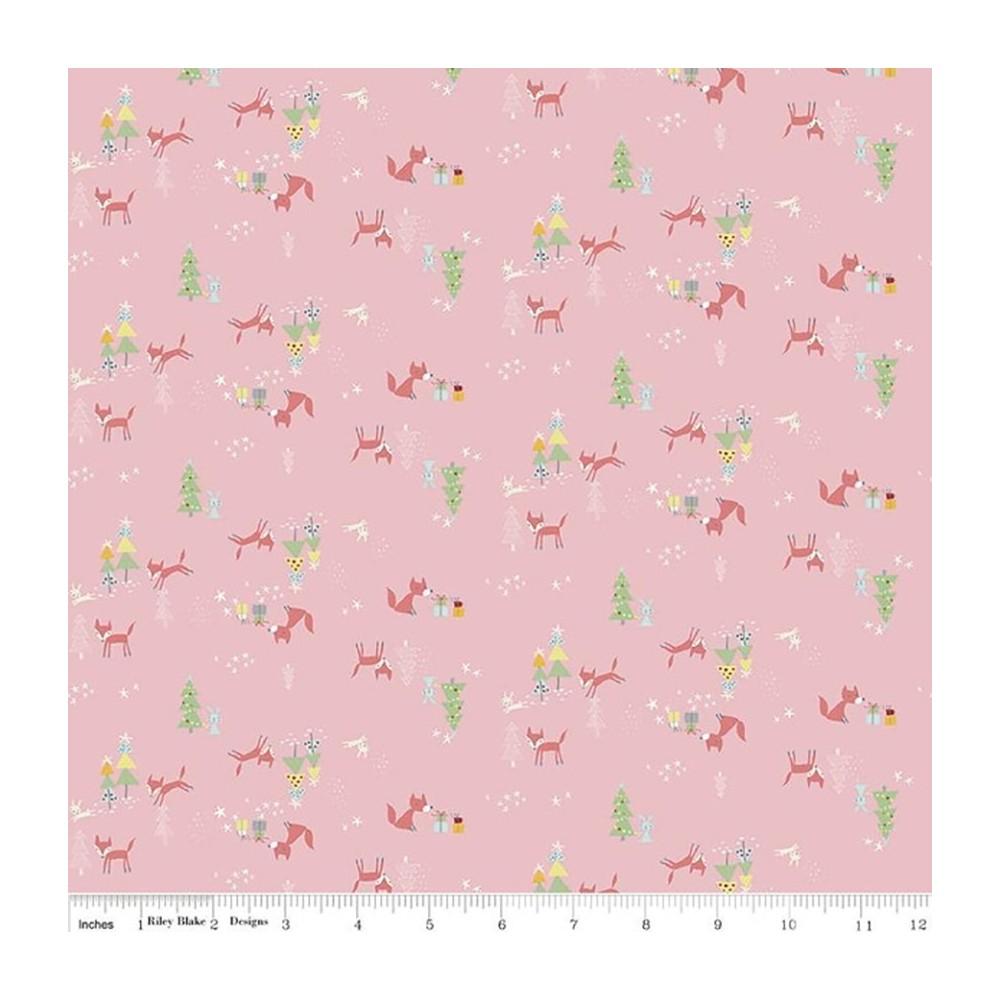Winter tales - Volpi e alberi di Natale su rosa