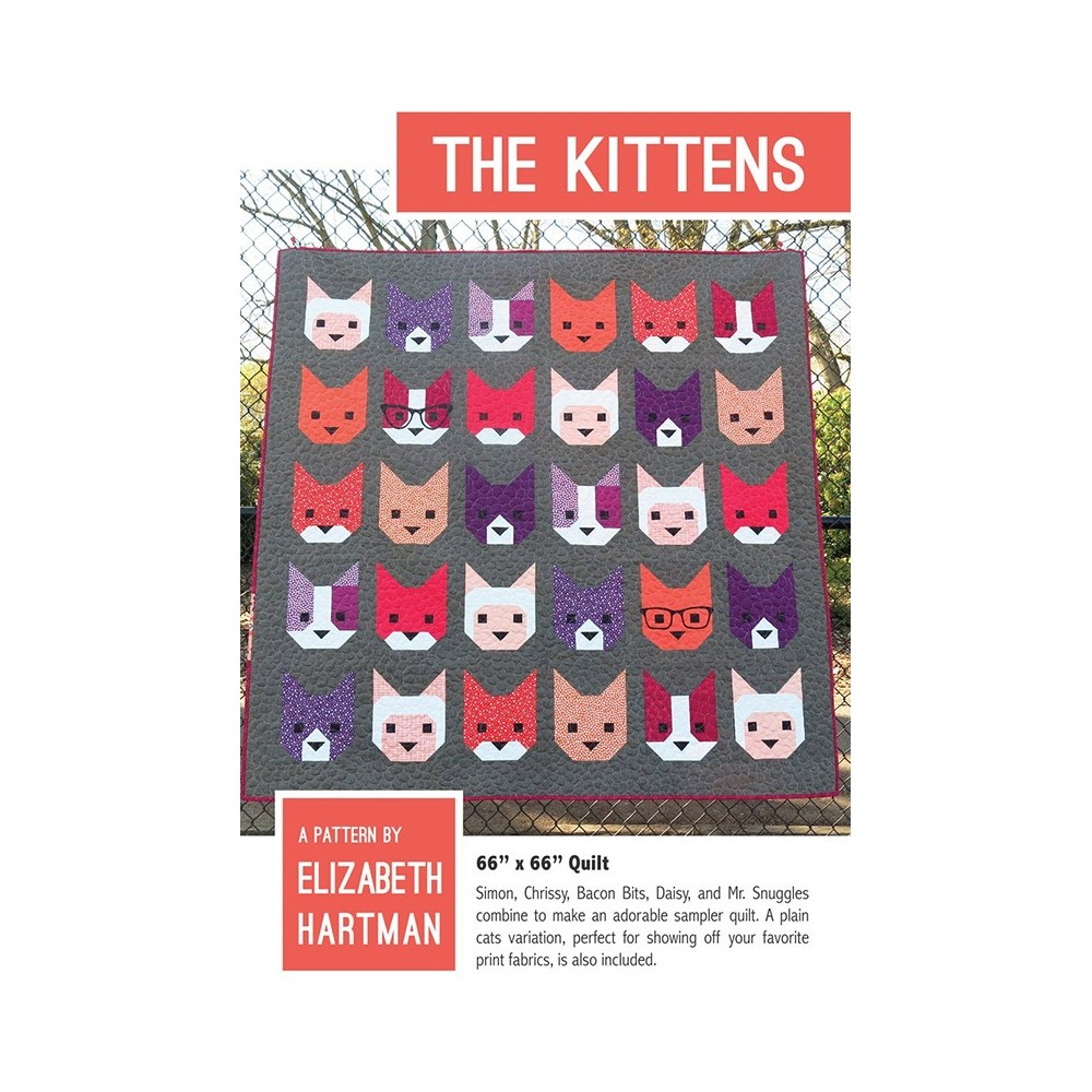 Cartamodello The Kittens quilt pattern di Elizabeth Hartman