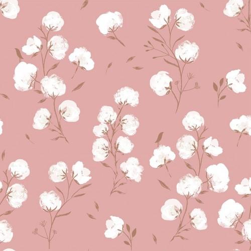 Soft shell - Fiori di cotone su rosa
