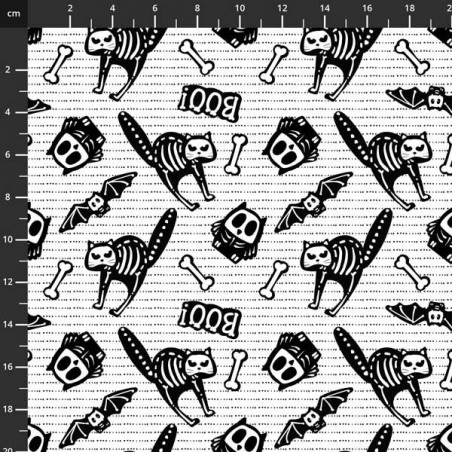 Glow Ghosts - Gatti e pipistrelli su bianco - 4706-667