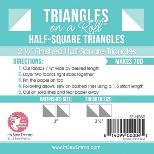 """Triangles in a roll - 2 1/2"""" finished size"""
