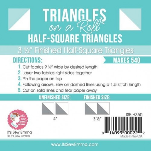 """Triangles in a roll - 3 1/2"""" finished size"""